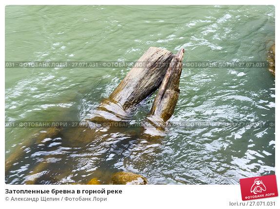 Затопленные бревна в горной реке, эксклюзивное фото № 27071031, снято 6 сентября 2017 г. (c) Александр Щепин / Фотобанк Лори