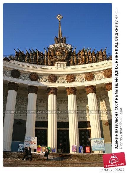 Здание павильона СССР на бывшей ВДНХ, ныне ВВЦ. Вид снизу на фоне ярко синего неба., фото № 100527, снято 25 ноября 2004 г. (c) Harry / Фотобанк Лори