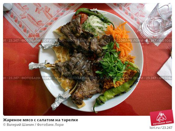 Жареное мясо с салатом на тарелке, фото № 23247, снято 17 ноября 2006 г. (c) Валерий Шанин / Фотобанк Лори
