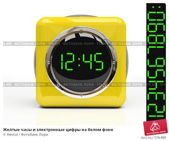 Желтые часы и электронные цифры на белом фоне, иллюстрация № 174495 (c) Hemul / Фотобанк Лори