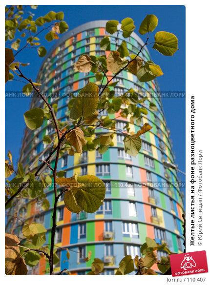 Купить «Желтые листья на фоне разноцветного дома», фото № 110407, снято 26 сентября 2007 г. (c) Юрий Синицын / Фотобанк Лори