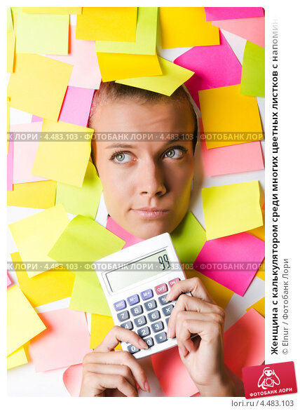 Купить «Женщина с калькулятором среди многих цветных листков с напоминаниями», фото № 4483103, снято 29 августа 2012 г. (c) Elnur / Фотобанк Лори