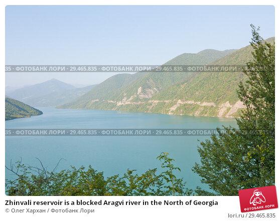Купить «Zhinvali reservoir is a blocked Aragvi river in the North of Georgia», фото № 29465835, снято 17 августа 2013 г. (c) Олег Хархан / Фотобанк Лори