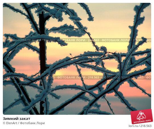 Зимний закат, фото № 218563, снято 2 декабря 2016 г. (c) ElenArt / Фотобанк Лори