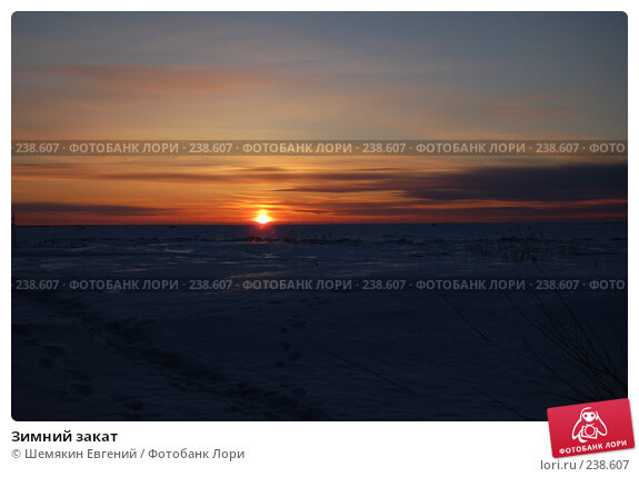Зимний закат, фото № 238607, снято 4 декабря 2016 г. (c) Шемякин Евгений / Фотобанк Лори