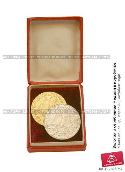 Золотая и серебряная медали в коробочке, фото № 325747, снято 28 июня 2017 г. (c) Коннов Леонид Петрович / Фотобанк Лори