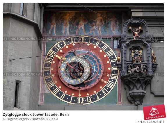 Купить «Zytglogge clock tower facade, Bern», фото № 28926411, снято 7 мая 2017 г. (c) EugeneSergeev / Фотобанк Лори
